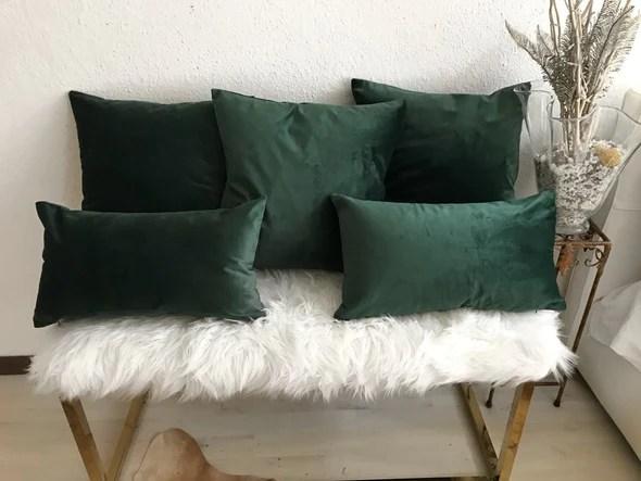 emerald green velvet pillow covers