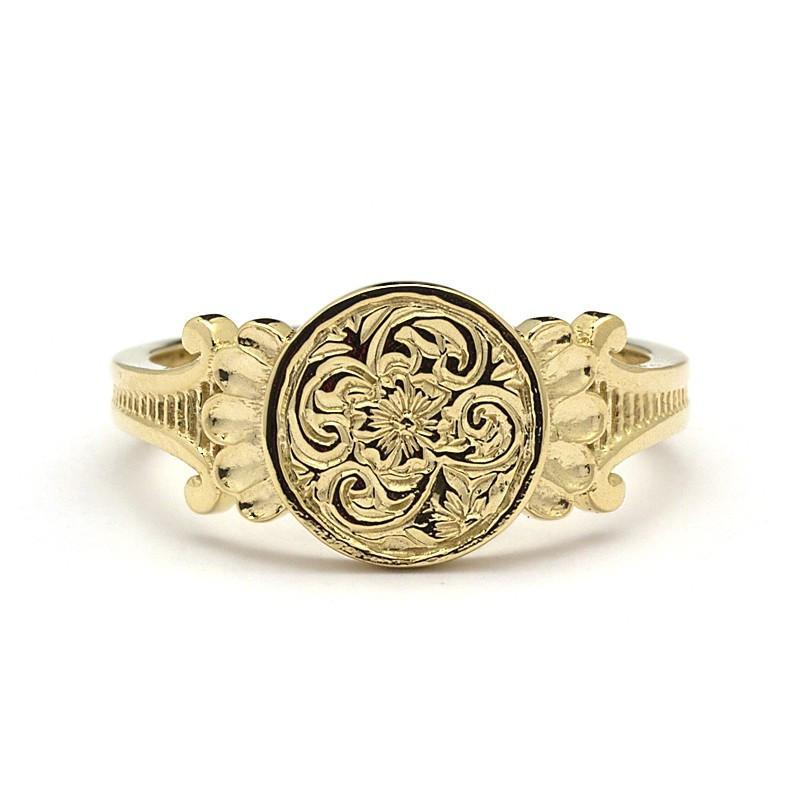14k Gold Signet Ring Womens - Aria Juliet & Oliver