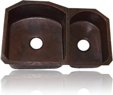 70 30 undermount or drop in double bowl copper kitchen sink 33 or 35 inch cks 7030tdh