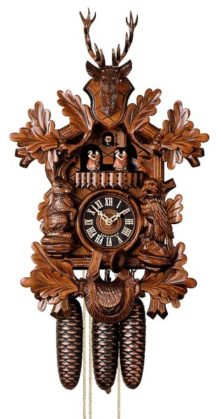 Cuckoo Clock Hunting Clock with Sitting Animals by Hönes - Cuckoo Clock Meister