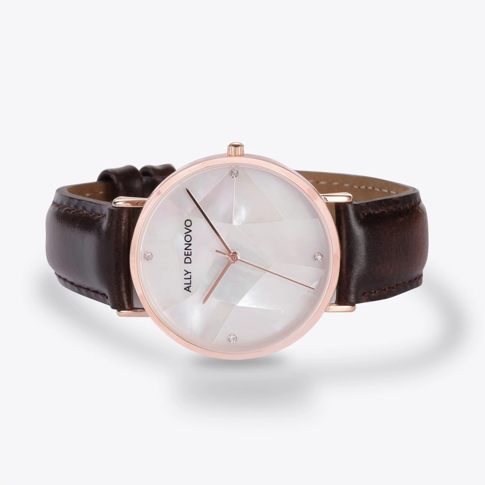 Gaia pearl皮革腕錶-白色菱形琉璃玫瑰金框咖啡色真皮錶帶 AF5003.2 – ALLY DENOVO 中文官方網站