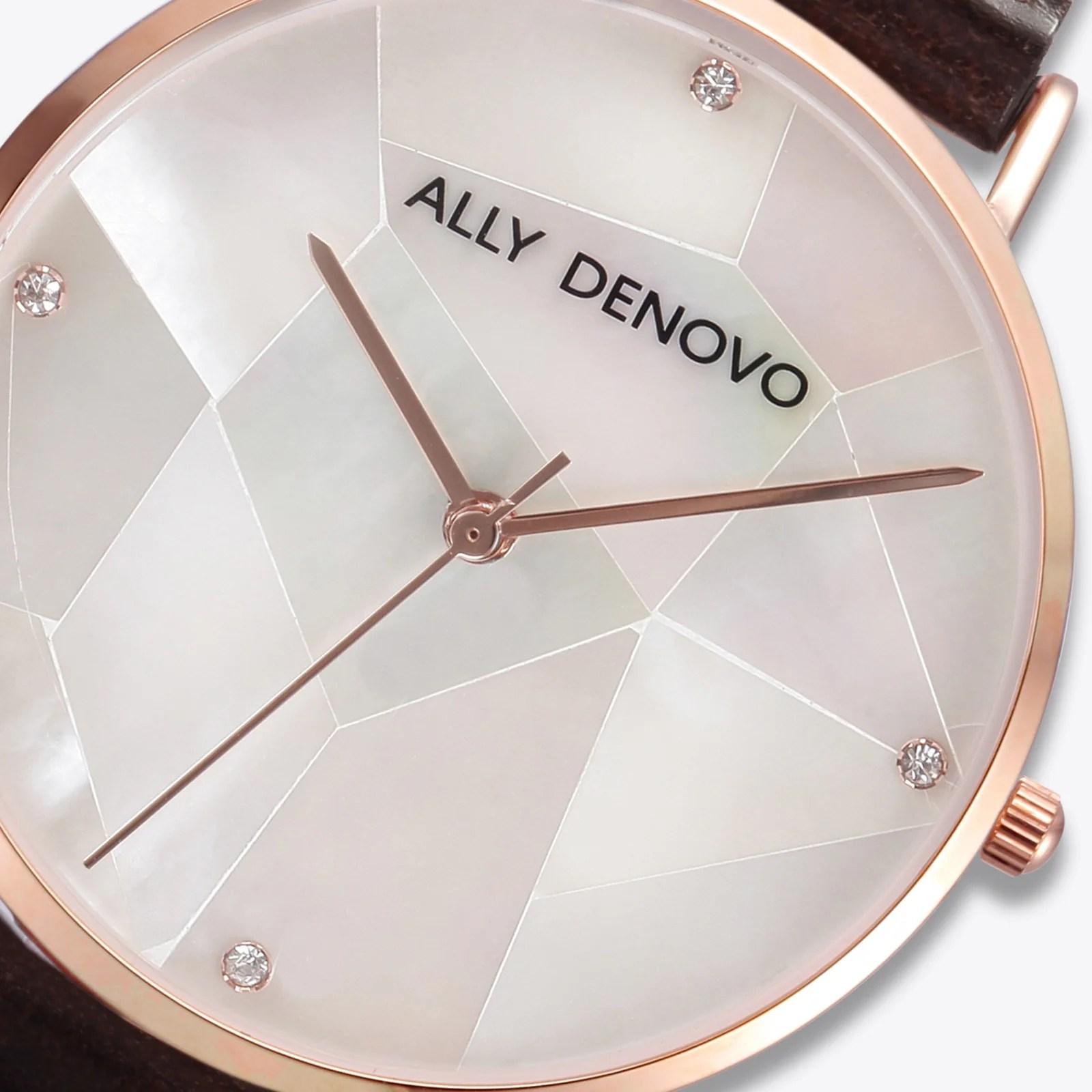【女款36mm】Gaia pearl皮革腕錶-白色菱形琉璃玫瑰金框咖啡色真皮錶帶 AF5003.2 – ALLY DENOVO 中文官方網站