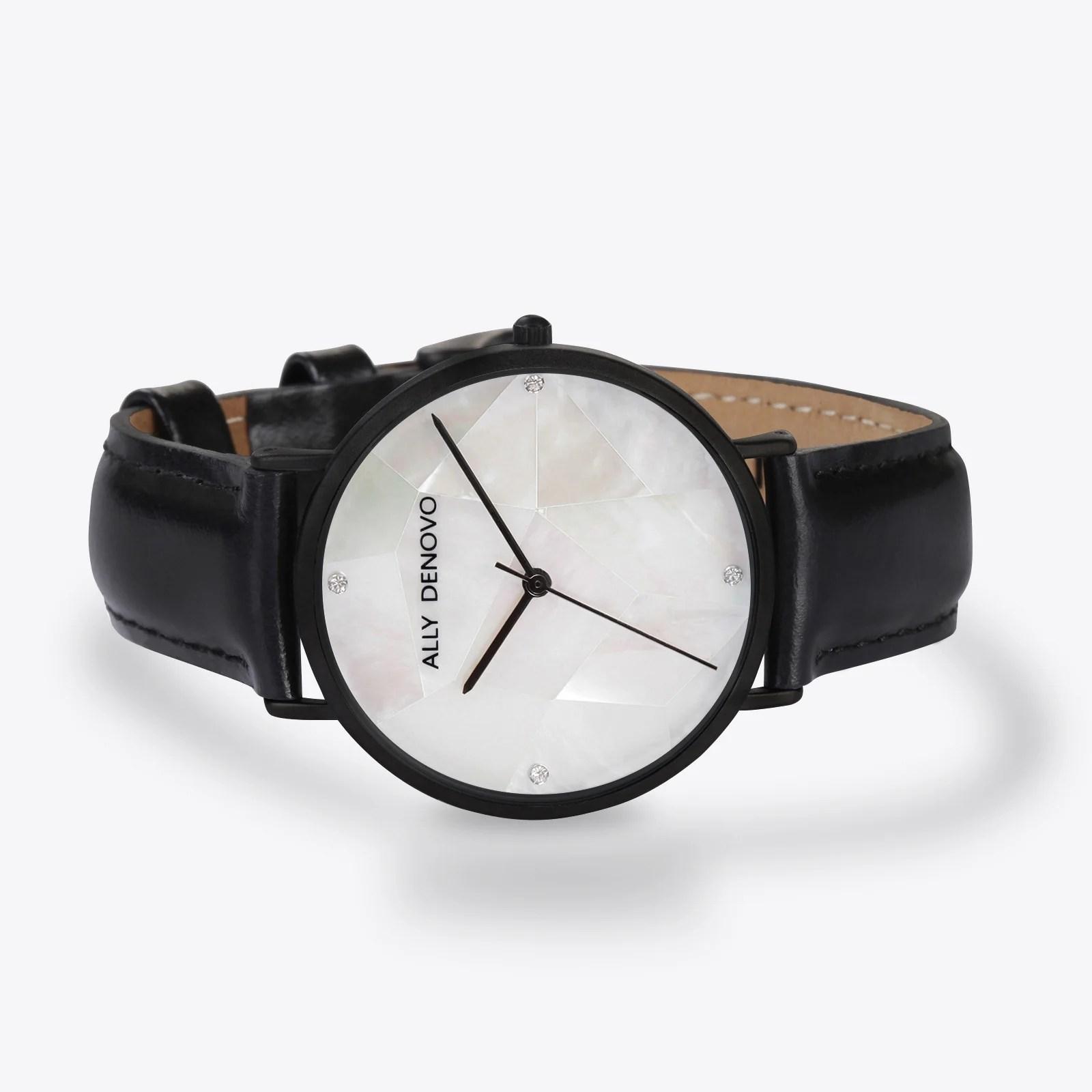 Gaia pearl皮革腕錶-白色菱形琉璃黑框黑色真皮錶帶 AF5003.4 – ALLY DENOVO 中文官方網站
