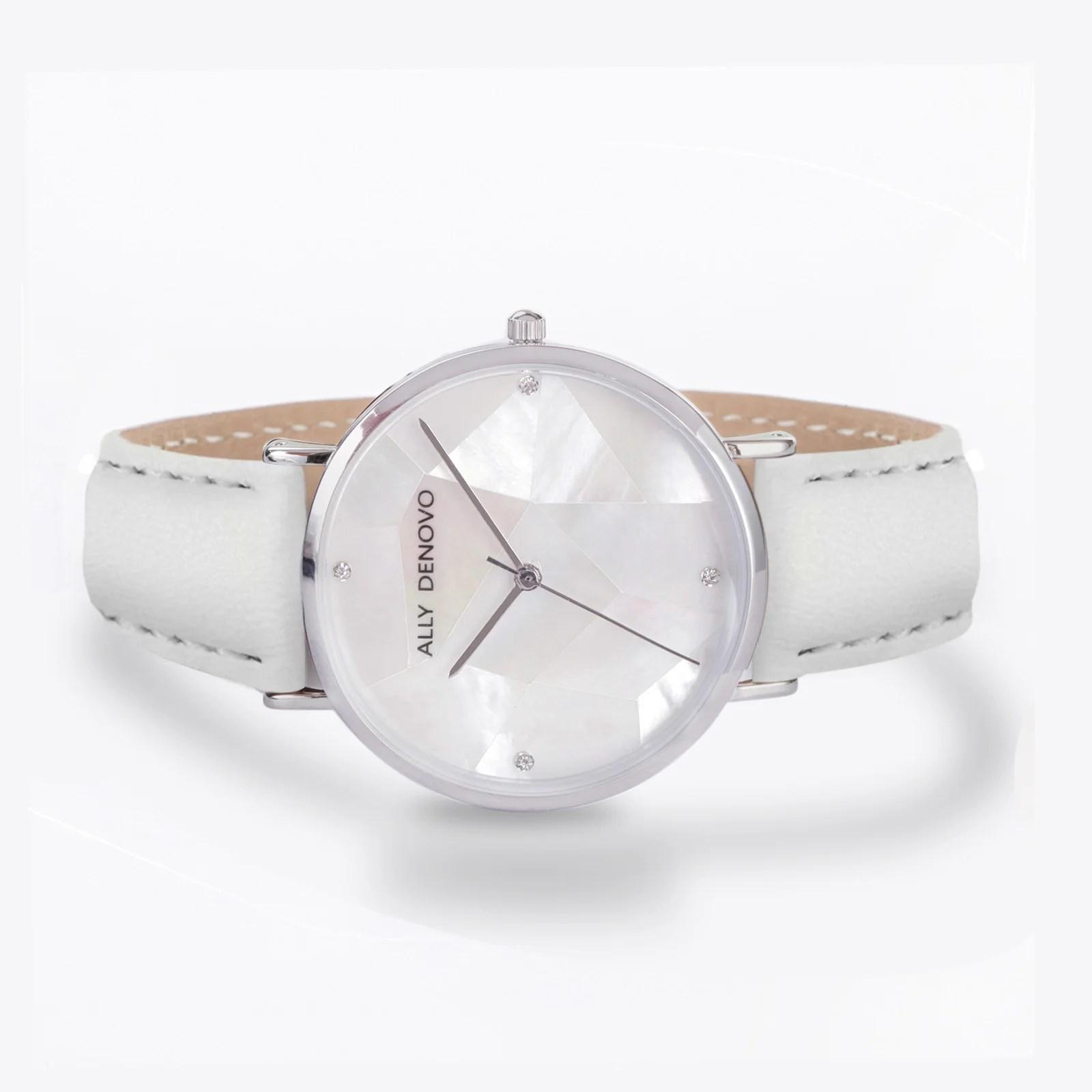 Gaia pearl皮革腕錶-白色菱形琉璃白框白色真皮錶帶 AF5003.6 – ALLY DENOVO 中文官方網站