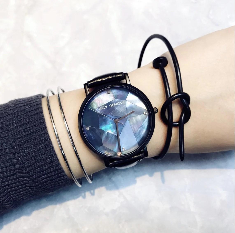 Gaia pearl皮革腕錶-藍色菱形琉璃黑框黑色真皮錶帶 AF5003.5 – ALLY DENOVO 中文官方網站