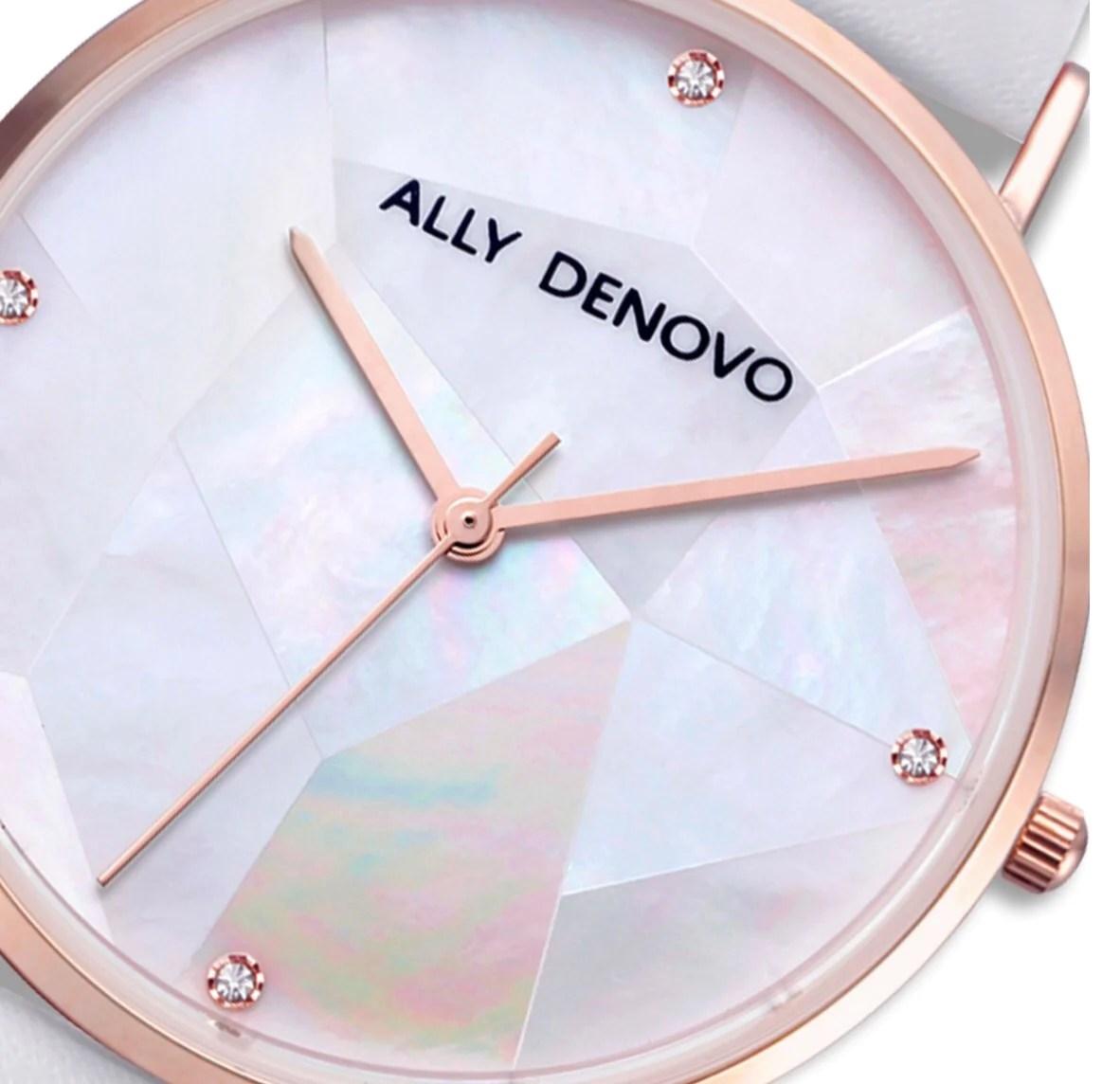 Gaia pearl皮革腕錶-白色菱形琉璃玫瑰金框白色真皮錶帶 AF5003.10 – ALLY DENOVO 中文官方網站