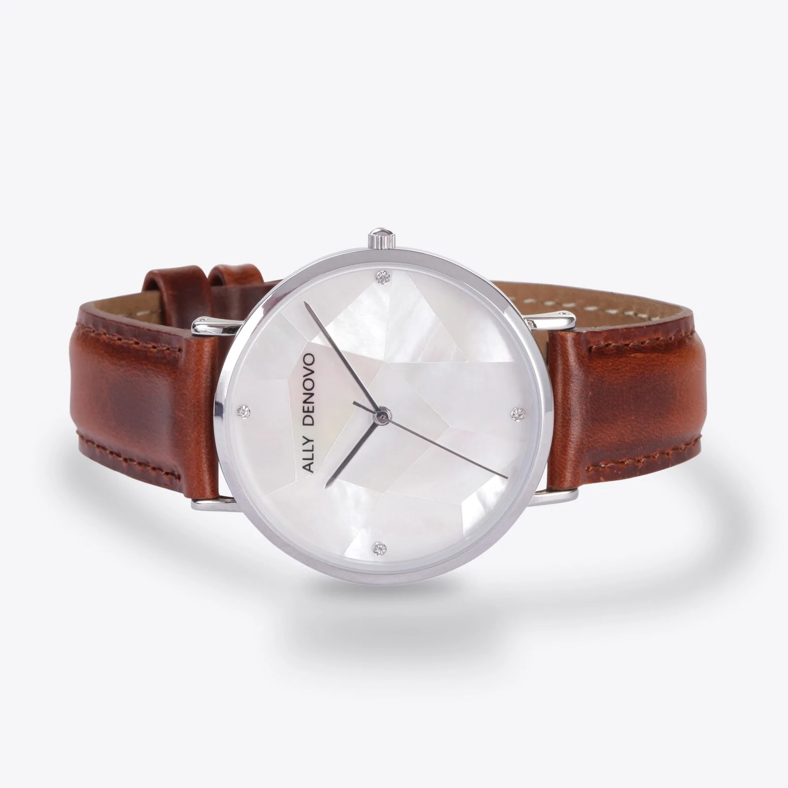Gaia pearl皮革腕錶-白色菱形琉璃銀框紅棕色真皮錶帶 AF5003.1 – ALLY DENOVO 中文官方網站