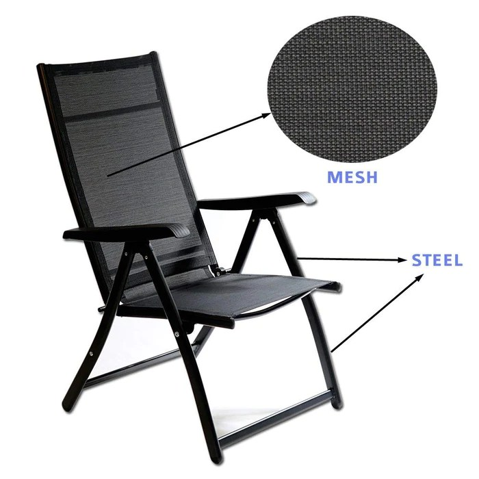 outdoor folding chair with side table beds canada techcare 2 heavy duty durable adjustable reclining chairs 1 indoor