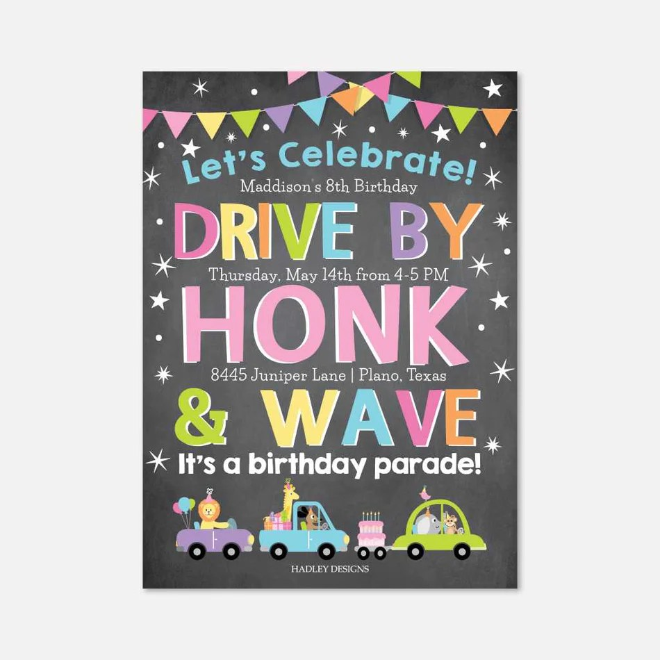 girl chalk drive by parade kids party invitation printable