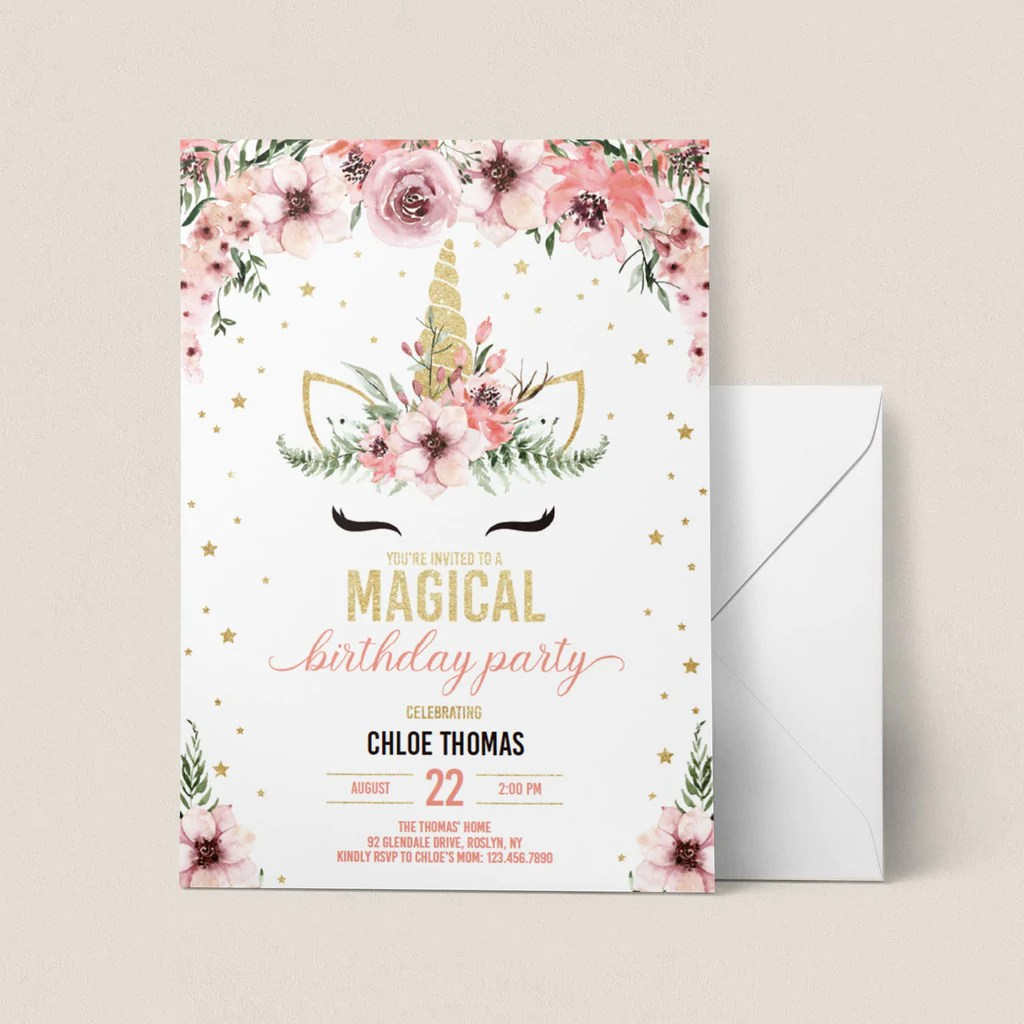 floral unicorn birthday invitation editable template pink and gold
