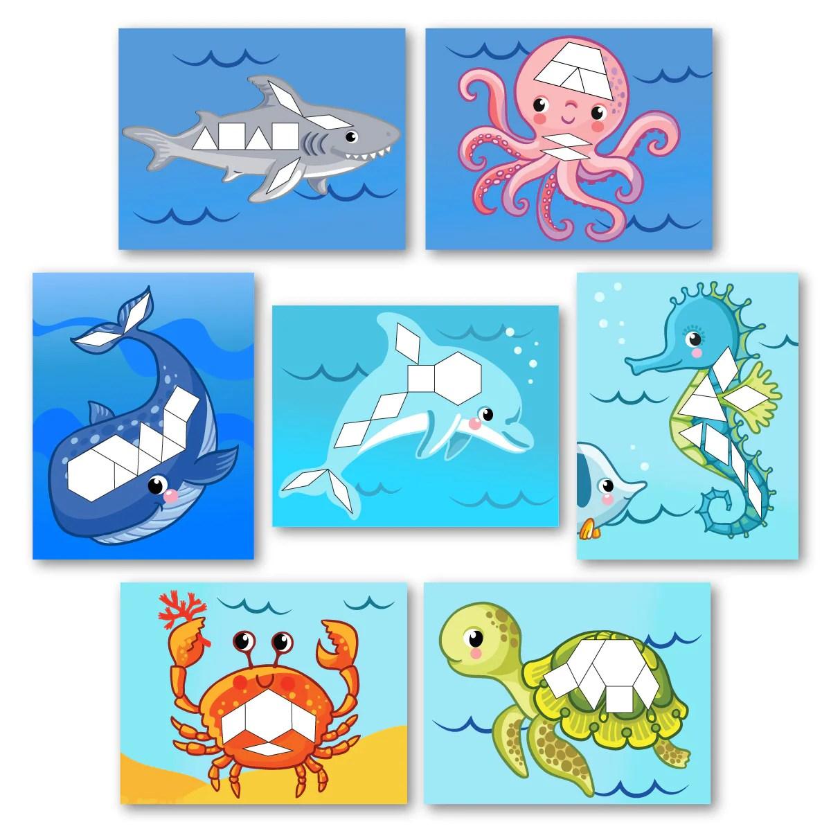 Free Ocean Printable Matching Game For Preschoolers [ 1200 x 1200 Pixel ]