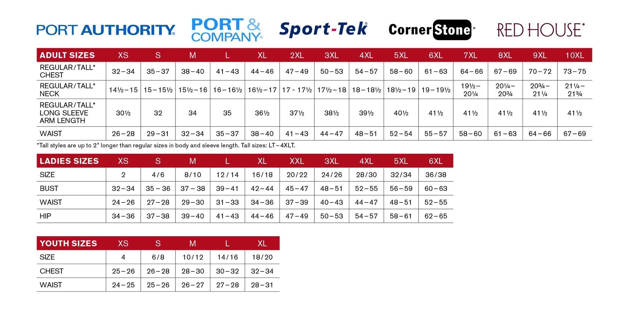 Port authority size chart also  world water works wear by tailored rh worldwaterworkswear