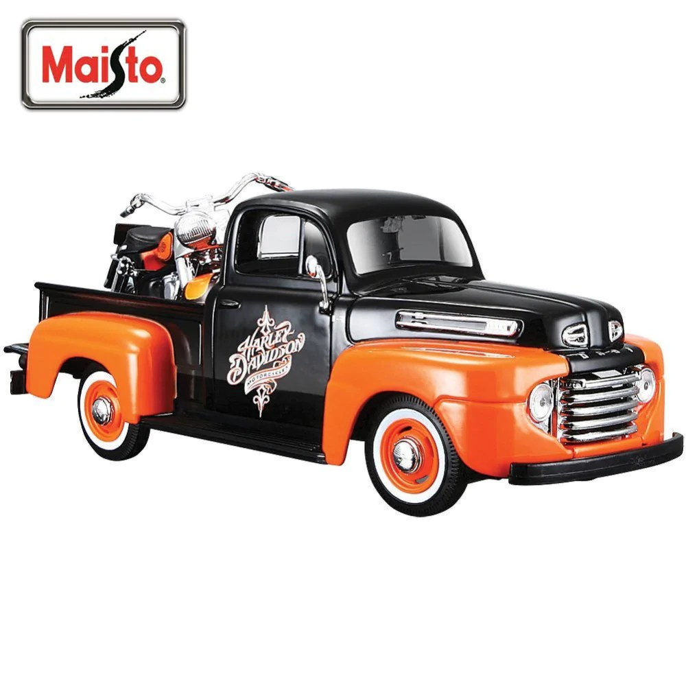 maisto 1 24 harley ford 1948 ford f 1 pickup 1958 flh duo glide motorcycle bike diecast model car toy new in box free shipping [ 1000 x 1000 Pixel ]