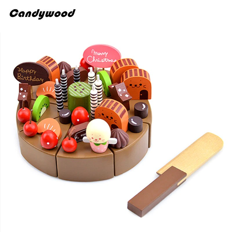 kids kitchen toys magnetic knife holder chocolate birthday cake children wooden food wood puddy pretend