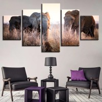 Animal Elephant Scenery - 5 Piece Canvas Wall Art  itdayshop