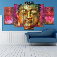 Colorful Buddha HD Printed Canvas Art - 5 Piece Painting ...