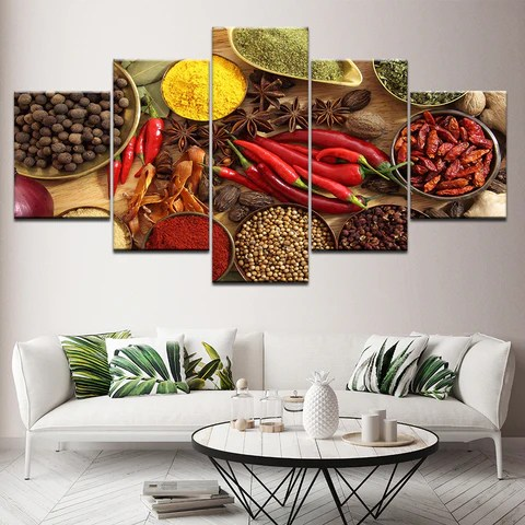 framed prints for kitchens kitchen cabinet door hardware spoon grains spices peppers theme 5 piece canvas wall art