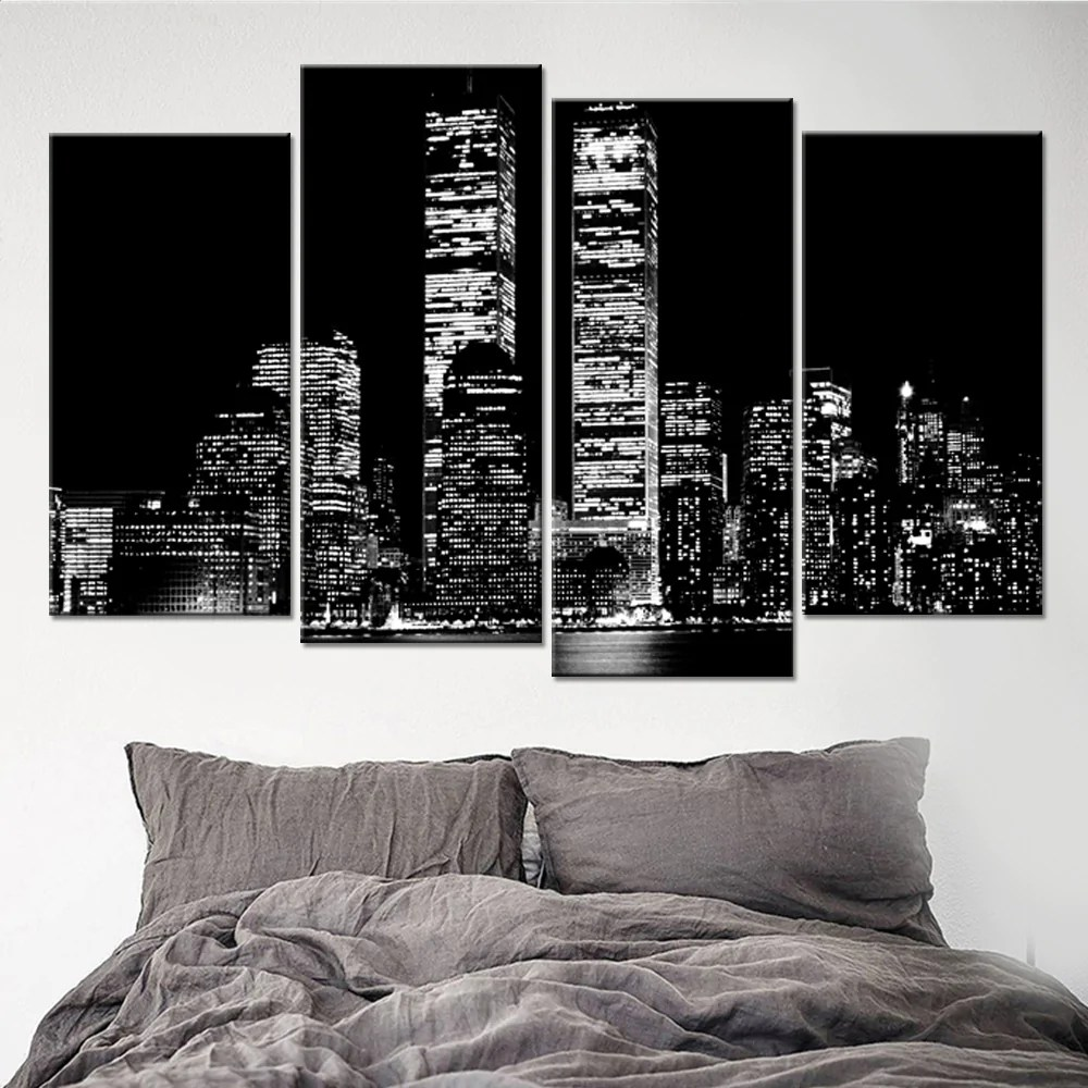 Black And White Building Landscape 4 Piece Canvas Wall