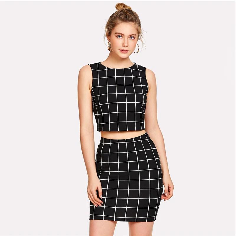 Women' Elegant Black And White Checkered Pattern 2-piece
