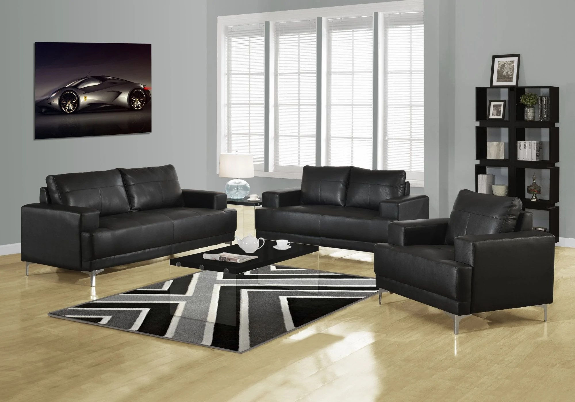 living room set leather power reclining black bonded maximum impact plus