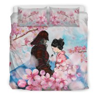 Samurai And Sakura Bedding Set  1stTheWorld