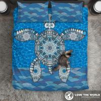 Blue Sea Turtle Hawaiian Bedding Set C1  1stTheWorld