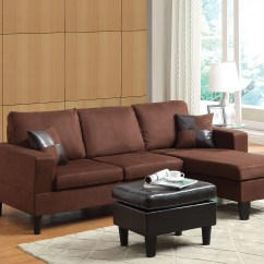 Acme Sectional Sofa Chocolate American Made Brands Buy Robyn Reversible Chaise With Ottoman 2 Pillows Microfiber Espresso Pu