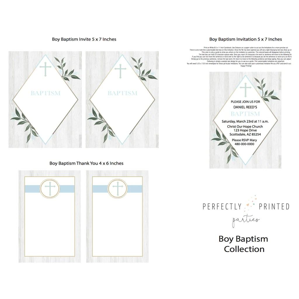 blue baptism printable invitation digital download  [ 1024 x 1024 Pixel ]