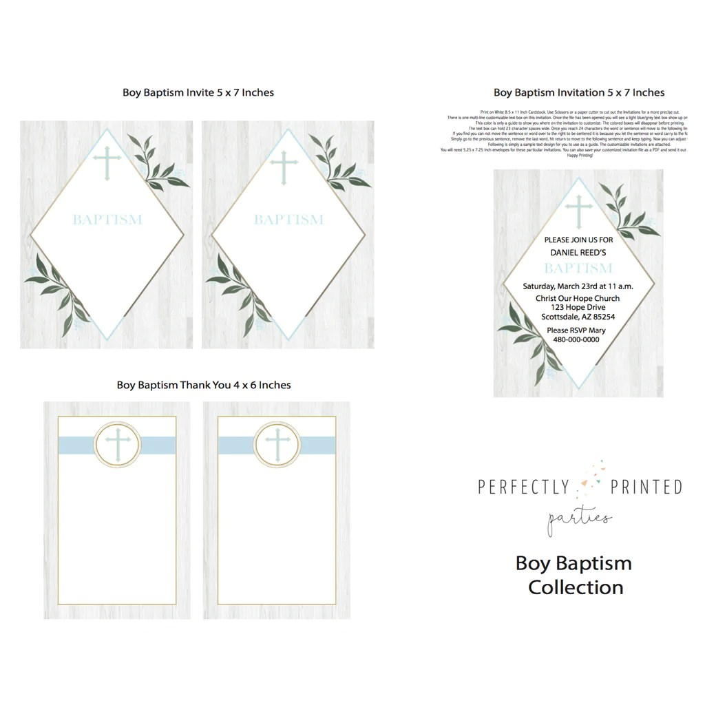 medium resolution of blue baptism printable invitation digital download