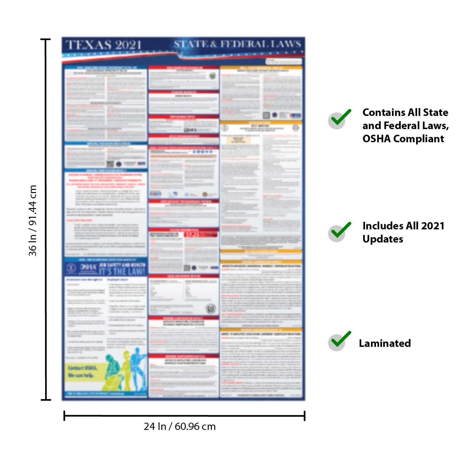 2021 texas state and federal labor laws poster osha workplace compliant 24