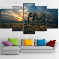5 Piece Elephants Sunset Canvas Wall Art Paintings For ...