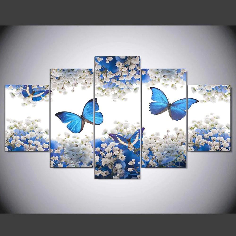 Framed 5 Piece Blue Butterfly Canvas Wall Art Sets It