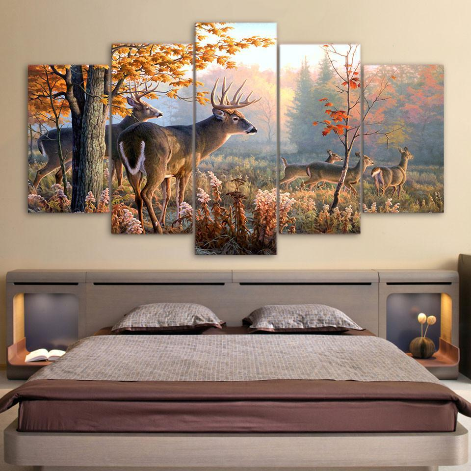 5 Pieces Deer Outdoor Forest Canvas Wall Art Paintings Make Day