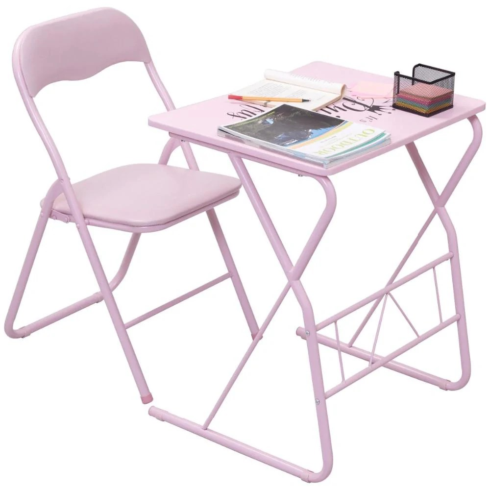 Desk And Chair Set Kids Folding Table Chair Set Modern Pink Wood Study Writing Desk Portable Student Children Home School Desk Chair