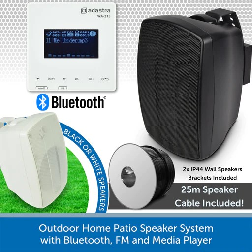 outdoor home patio speaker system with bluetooth fm and media player