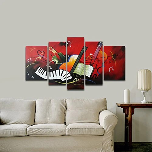 modern artwork for living room design tv over fireplace wieco art the music score 5 panels 100 hand painted stretched and