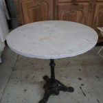 Antique French Bistro Table With Iron Base And Marble Top Lily Pond
