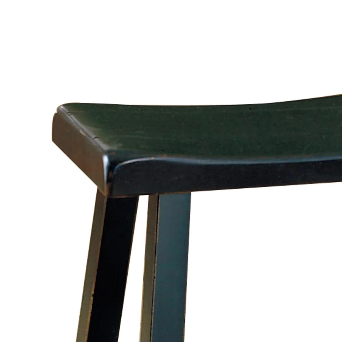 Benzara Wooden 18 Counter Height Stool With Saddle Seat Black Set Of 2 Bm175975 Benzara Com