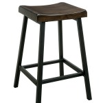 Benzara Wooden Counter Height Stool With Metal Legs Pack Of Two Black And Brown Bm183599 Benzara Com