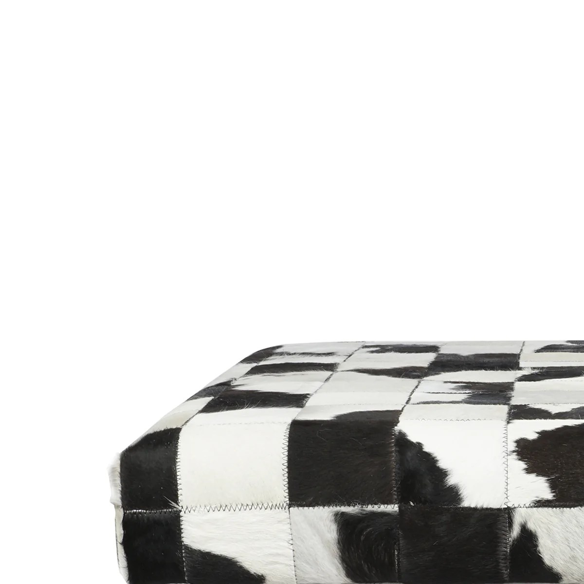 Benjara Cow Hide Upholstered Bench With Acrylic Legs White And Black Bm200865 Benzara Com