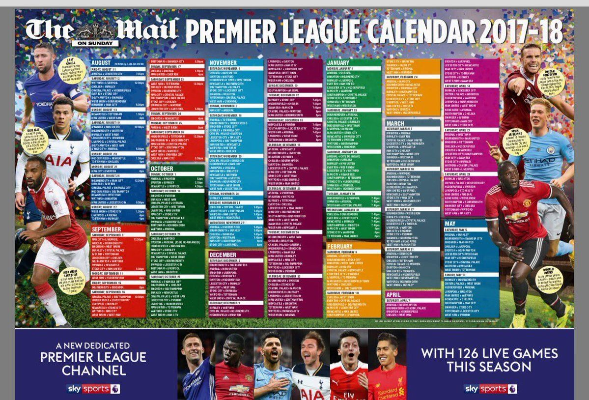 Mail on sunday premier football league wall chart calendar new also rh yourcelebritymagazines
