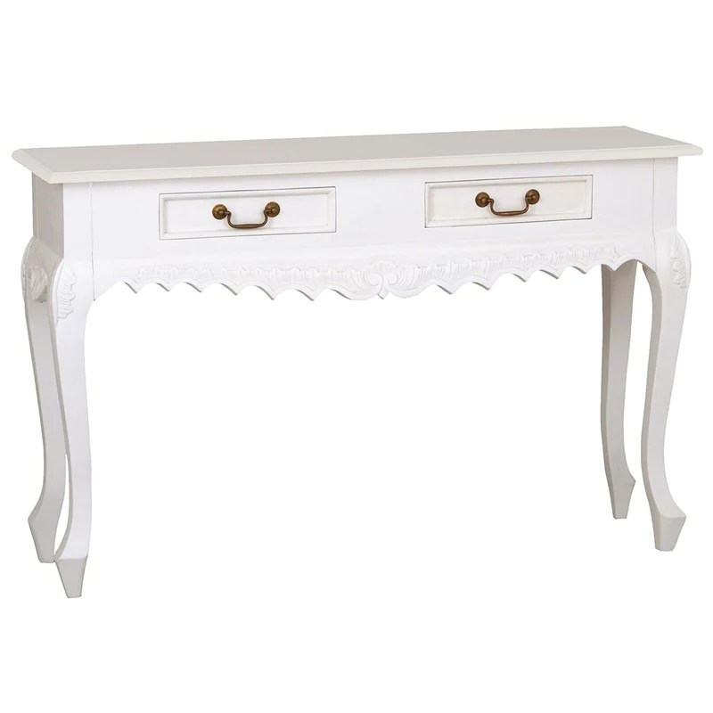 sale sofa tables stores redditch queenanne solid wood timber 2 drawer french console table white teak warehouse com