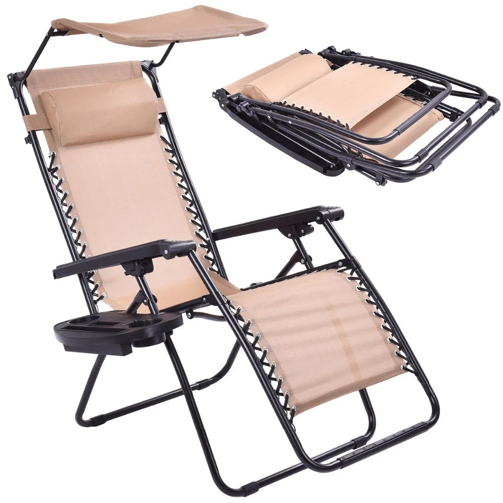 chair with shade canopy what is a sex beige folding recliner zero gravity lounge cup holder op3025be