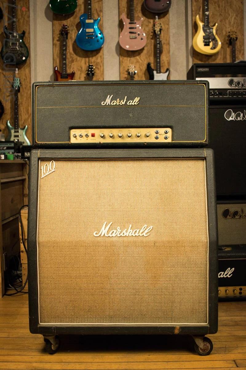 hight resolution of 1968 marshall plexi amplifier head 68 69 marshall slant 4x12 cabinet w magus