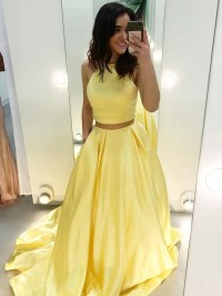 Cheap Two Piece Prom Dresses Yellow Satin Formal Long Prom ...