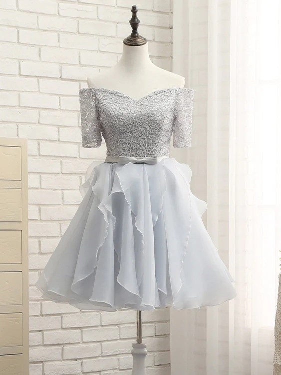 2017 Homecoming Dress Offtheshoulder Silver Short Prom Dress Party D  annapromdress