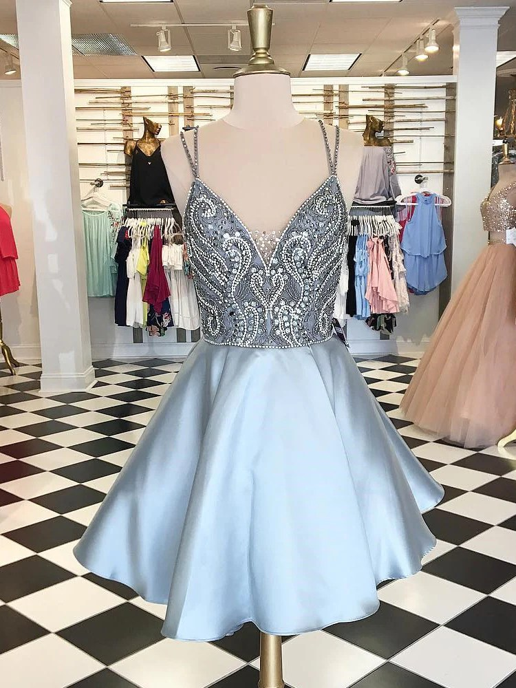 Sexy Homecoming Dress Spaghetti Straps Rhinestone Silver Short Prom Dr  annapromdress