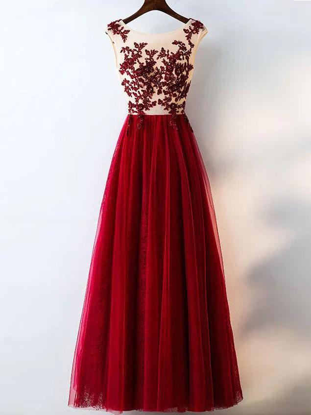 Chic Burgundy Prom Dresses Rhinestone Scoop Floorlength Lace Prom Dre  Anna PromDress
