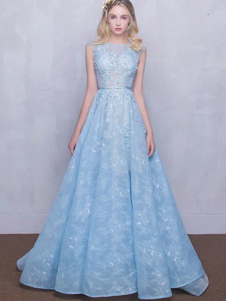 Long Lace Prom Dresses Scoop Appliques Baby Blue Prom DressEvening Dr  annapromdress