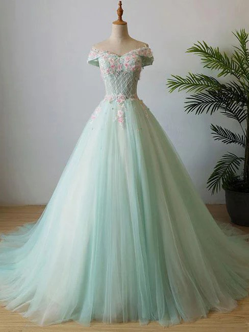 Beautiful Prom Dresses Ball Gown SweepBrush Train Sage